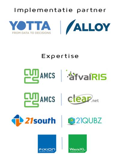 YOTTA - ALLOY, AMCS - AfvalRIS, CLEAR, 21South - 21Qubz, Fixion - WasteXL